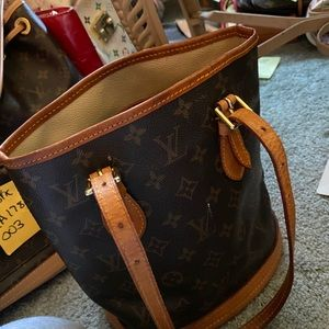 Louis Vuitton petit canvas bucket bag